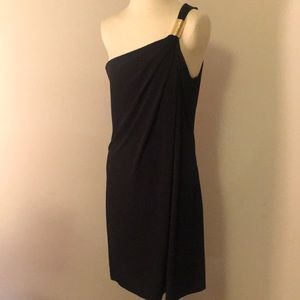 Michael Kors gold accent one shoulder dress